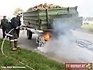 Reifenbrand eines Traktoranhängers